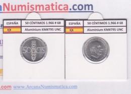 ESPAGNE / FRANCO   50  CENTIMOS  1.966  #68  ALUMINIO  KM#795  SC/UNC     T-DL-9222 - 50 Centimos