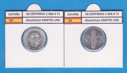 SPANJE / FRANCO   50  CENTIMOS  1.966  #71  ALUMINIO  KM#795  SC/UNC    T-DL-9237 - 50 Centiem