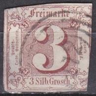 THURN & TAXIS 1859-61 Freimarken Ziffern 3 Gr. Lebhaftgraurot Michel 17 Vierringstempel 172 - Thurn En Taxis
