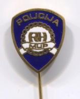 POLICE, POLIZEI, POLIZIA - Croatia, Vintage Pin Badge, Enamel - Police