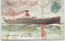 Marine/ ALLAN MAIL LINE/Marguerite Courtillac/ Nanterre/Canada/Universal Postal Union/Vers 1900-1910    MA39 - Steamers