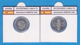 SPANIEN/ FRANCO   50  CENTIMOS  1.966  #73  ALUMINIO  KM#795  SC/UNC    T-DL-9246 - 50 Céntimos