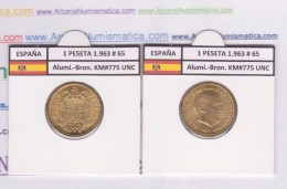 SPANJE / FRANCO   1  PESETA   1.963 #65  ALUMINIO-BRONCE  KM#775  SC/UNC    T-DL-9253 - [ 5] 1949-… : Koninkrijk