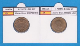 SPAIN / FRANCO   1  PESETA   1.966 #67  Aluminio-Bronce  KM#796  SC/UNC    T-DL-9255 - [ 5] 1949-… : Royaume