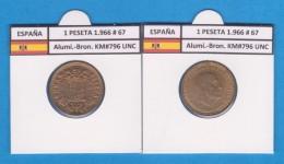 SPANJE / FRANCO   1  PESETA   1.966 #67  Aluminio-Bronce  KM#796  SC/UNC    T-DL-9255 - [ 5] 1949-… : Koninkrijk