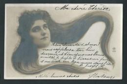 Femme Aux Très Longs Cheveux. Véritable Photo NPG 117.   Voyagée En 1902.  2 Scans. - Femmes
