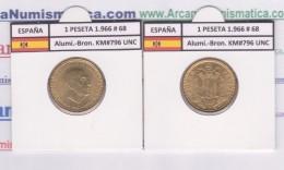 SPANJE / FRANCO   1  PESETA   1.966 #68  Aluminio-Bronce  KM#796  SC/UNC    T-DL-9256 - [ 5] 1949-… : Koninkrijk