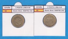 SPANJE / FRANCO   1  PESETA   1.966 #69  Aluminio-Bronce  KM#796  SC/UNC    T-DL-9259 - [ 5] 1949-… : Koninkrijk