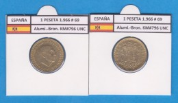 SPAIN / FRANCO   1  PESETA   1.966 #69  Aluminio-Bronce  KM#796  SC/UNC    T-DL-9259 - 1 Peseta
