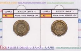 SPAIN / FRANCO   1  PESETA   1.966 #71  Aluminio-Bronce  KM#796  SC/UNC     T-DL-9267 - [ 5] 1949-… : Royaume