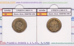 SPANJE / FRANCO   1  PESETA   1.966 #71  Aluminio-Bronce  KM#796  SC/UNC     T-DL-9267 - [ 5] 1949-… : Koninkrijk