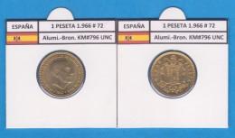 ESPAGNE / FRANCO   1  PESETA   1.966 #72  Aluminio-Bronce  KM#796     SC/UNC     T-DL-9272 - [ 5] 1949-… : Royaume