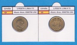 SPAIN / FRANCO   1  PESETA   1.966 #72  Aluminio-Bronce  KM#796     SC/UNC     T-DL-9272 - [ 5] 1949-… : Royaume