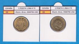 SPANJE / FRANCO   1  PESETA   1.966 #73  Aluminio-Bronce  KM#796     SC/UNC     T-DL-9274 - 1 Peseta