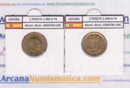 SPANJE / FRANCO   1  PESETA   1.966 #74  Aluminio-Bronce  KM#796     SC/UNC     T-DL-9278 - [ 5] 1949-… : Koninkrijk