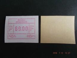 ATM.JAC Papier Crème. UNIEKE  Waarde: 69.- Bef. NF. - Automatenmarken (ATM)