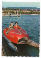Véhicule Mi-pédalo Mi-voiture (animée,couple ),cpsm 15 X 10 Série N° 4160 éd MD.Paris--Belle Carte - Bateaux
