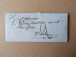 LETTRE SANS TIMBRE DE JANVIER 1849 TAXEE 2 RENNES POUR NANTES - 1801-1848: Precursors XIX