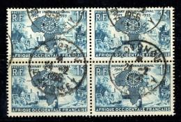1955  Club Rotary  Bloc De 4  Yv 53  Oblitéré à Cotonou, Bénin - Usati