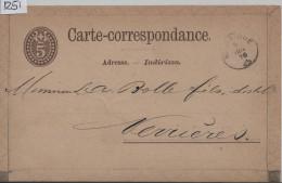 1876 Wappenschild 10 - Carte Postale - Cachet: Noiraigue Fingerhut-Stempel / Neuchatel-Pontalier - Entiers Postaux