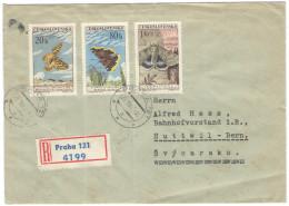 CECOSLOVACCHIA - Czechoslovakia - 1962 - Registered - 3 X Butterflies + Poštovní úÅ™ad Praha - Viaggiata Da Pr... - Cecoslovacchia