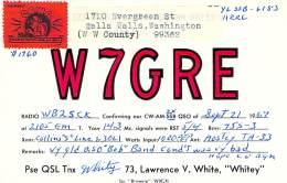 Amateur Radio QSL - W7GRE - Walla Walla, WA -USA- 1967 - Radio Amateur