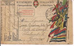 R.ESERCITO ITALIANO,FRANCHIGIA,POSTA MILITARE 121-1'COMPAGNIA,39'REGGIMENTO FANTERIA,ZONA GUERRA,CENSURA,CHIALAMBERTO,TO - 1914-18