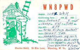 Amateur Radio QSL - WN8PWD - Wheeling, WV -USA- 1965 - 2 Scans - Radio Amateur