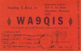 Amateur Radio QSL - WA9QIS - Milwaukee, WI -USA- 1968 - 2 Scans - Radio Amateur