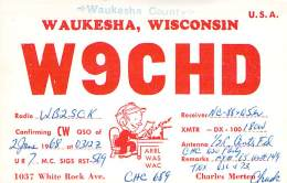 Amateur Radio QSL - W9CHD - Waukesha, WI -USA- 1968 - 2 Scans - Radio Amateur