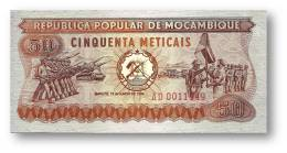 MOZAMBIQUE - 50 METICAIS - 16.06.1980 - P 125 - Unc. -  Série AD - Soldiers, Flag Ceremony / Soldiers In Training - Mozambique