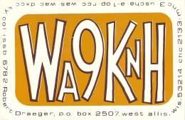Amateur Radio QSL - WA9KNH - West Allis, WI -USA- 1974 - 2 Scans - Radio Amateur