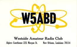 Amateur Radio QSL - W5ABD - Westside Radio Club - New Orleans, LA -USA- 1974 - 2 Scans - Radio Amateur