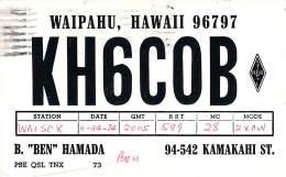 Amateur Radio QSL - KH6COB - Waipahu, Hawaii -USA- 1974 - 2 Scans - Radio Amateur