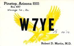 Amateur Radio QSL - W7YE/7 - Pinetop, AZ -USA- 1974 Field Day - 2 Scans - Radio Amateur
