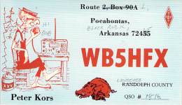 Amateur Radio QSL - WB5HFX - Black Rock, AR -USA- 1974 - 2 Scans - Radio Amateur