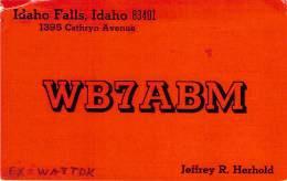 Amateur Radio QSL - WB7ABM - Idaho Falls, ID -USA- 1974 - 2 Scans - Radio Amateur