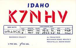 Amateur Radio QSL - K7NHV - Pocatello, ID -USA- 1974 (2 QSOs) - Radio Amateur