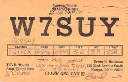 Amateur Radio QSL - W7SUY - Nampa, ID -USA- 1976 - 2 Scans - Radio Amateur