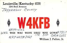 Amateur Radio QSL - W4KFB - Louisville, KY -USA- 1974 - 2 Scans - Radio Amateur
