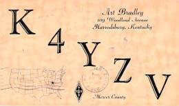 Amateur Radio QSL - K4YZV - Harrodsburg, KY -USA- 1974 - 2 Scans - Radio Amateur