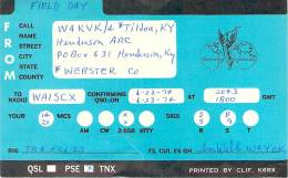 Amateur Radio QSL - W4KVK/4 Henderson Radio Club - Tilden, NY -USA- 1974 Field Day - 2 Scans - Radio Amateur