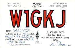 Amateur Radio QSL - W1GKJ - Old Orchard Beach, ME -USA- 1975 - 2 Scans - Radio Amateur