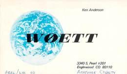 Amateur Radio QSL - W0ETT - Englewood, CO -USA- 1974 - 2 Scans - Radio Amateur