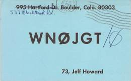 Amateur Radio QSL - WN0JGT/0 - Boulder, CO -USA- 1974 - 2 Scans - Radio-amateur