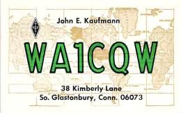 Amateur Radio QSL - WA1CQW - South Glastonbury, CT -USA- 1974 - 2 Scans - Radio Amateur