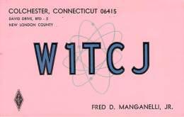 Amateur Radio QSL - W1TCJ - Colchester, CT -USA- 1974 - 2 Scans - Radio Amateur