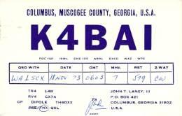 Amateur Radio QSL - K4BAI - Columbus, GA -USA- 1973 - 2 Scans - Radio Amateur