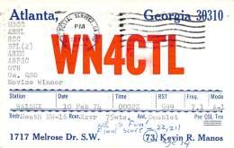 Amateur Radio QSL - WN4CTL - Atlanta, GA -USA- 1974 - 2 Scans - Radio Amateur