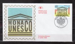 """MONACO 1999 : Enveloppe 1er Jour En Soie """" 50 ANS DE L'ADHESION DE MONACO A L'UNESCO """" N°YT 2213. Parf état FDC"""